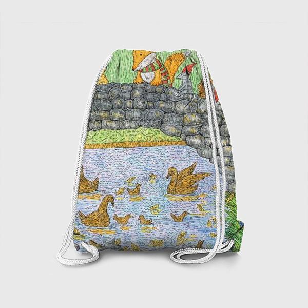 Рюкзак «Лис и кот в парке»