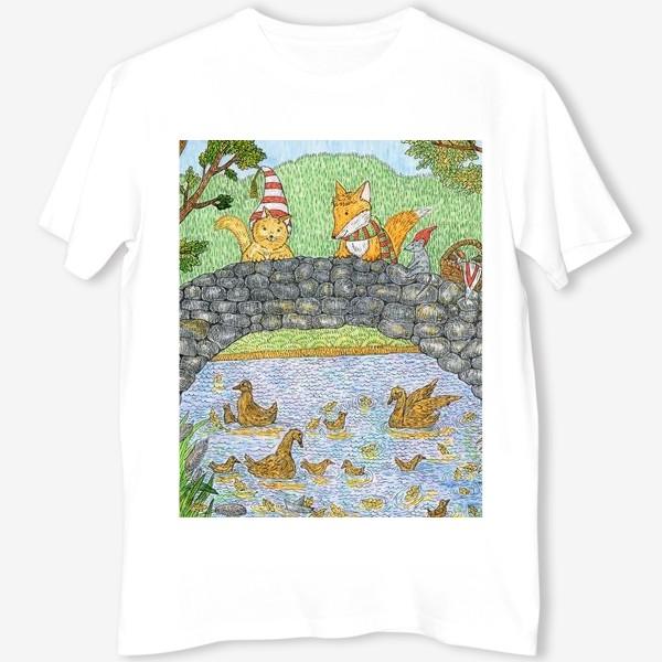 Футболка «Лис и кот в парке»