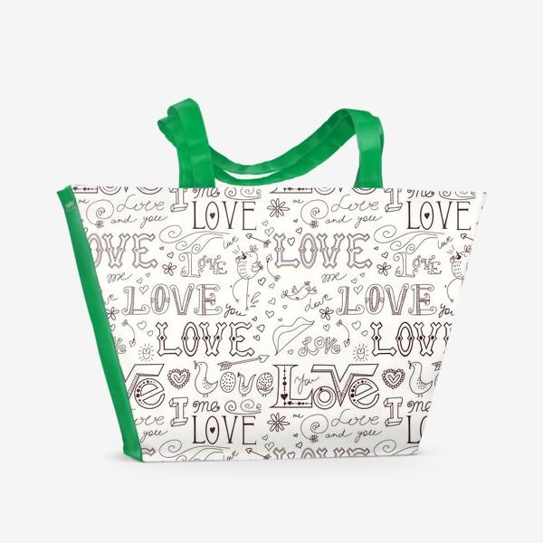 Пляжная сумка «Паттерн день святого валентина»