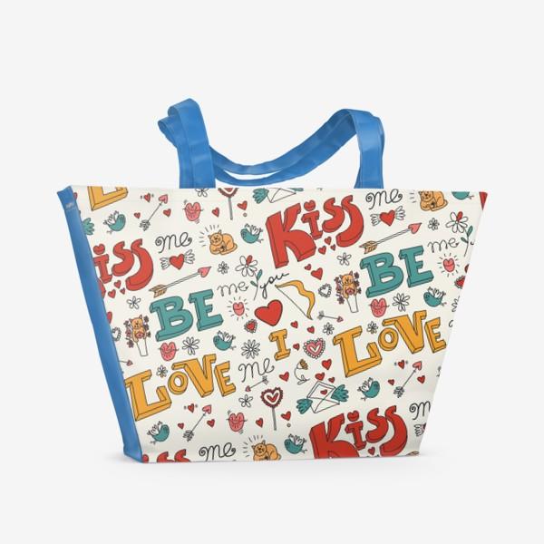 Пляжная сумка «Паттерн день святого валентина поцелуй, любовь»