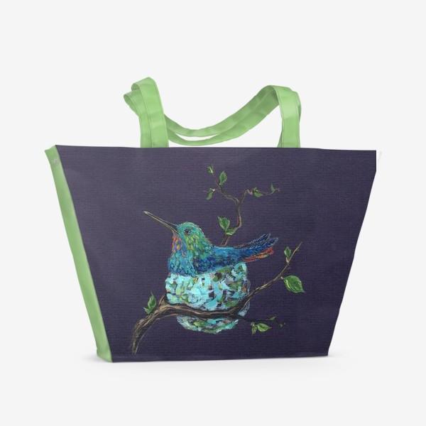 Пляжная сумка «колибри в гнездышке»