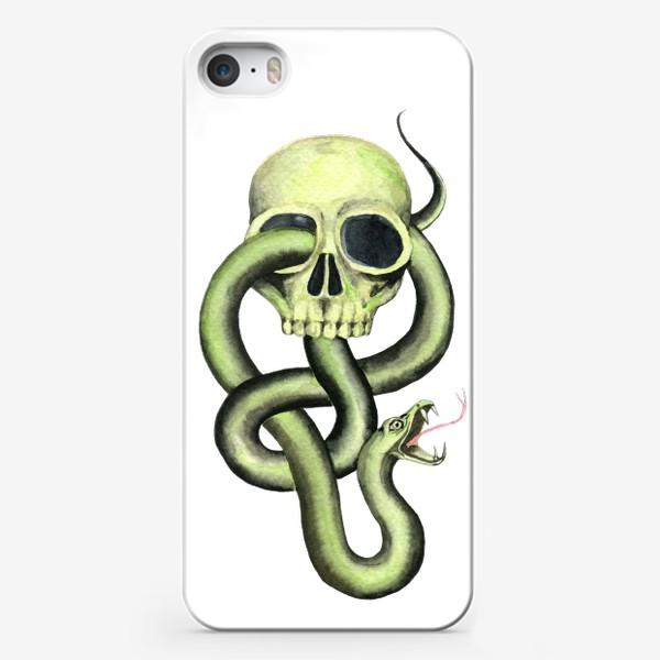 Чехол iPhone «Черная метка, череп,змея»
