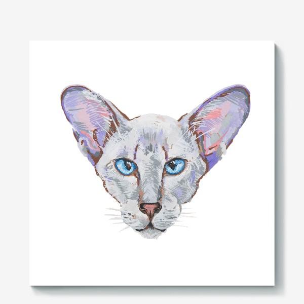 Холст «Котик фиолетовый ух»