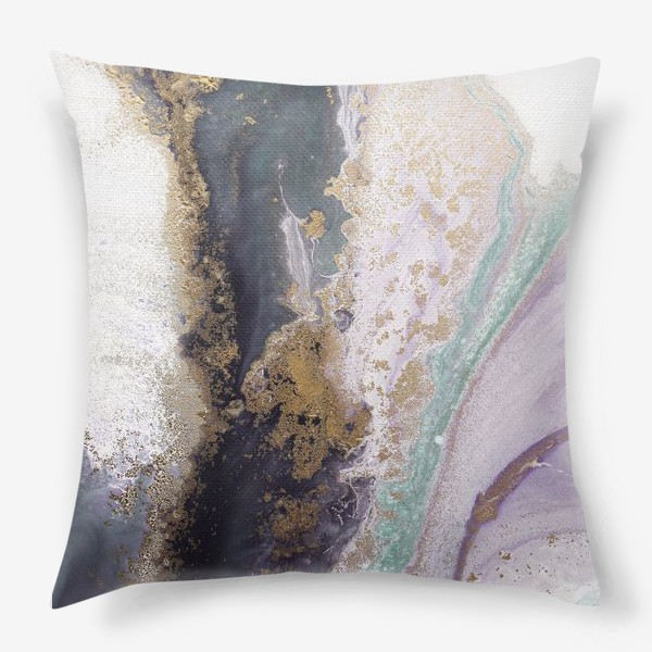 Подушка «Растительная абстракция с золотом в серо-зеленых, фиолетовых и розовых цветах»