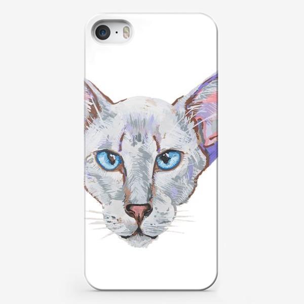 Чехол iPhone «Котик фиолетовый ух»