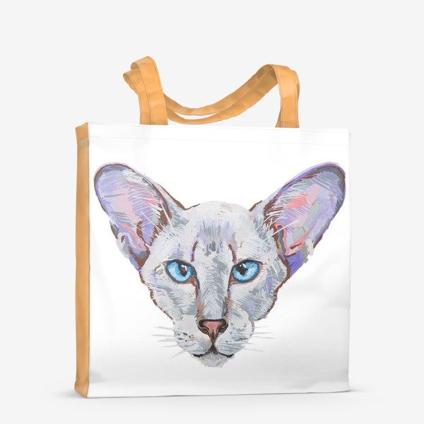 Сумка-шоппер «Котик фиолетовый ух»