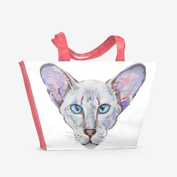 Пляжная сумка «Котик фиолетовый ух»