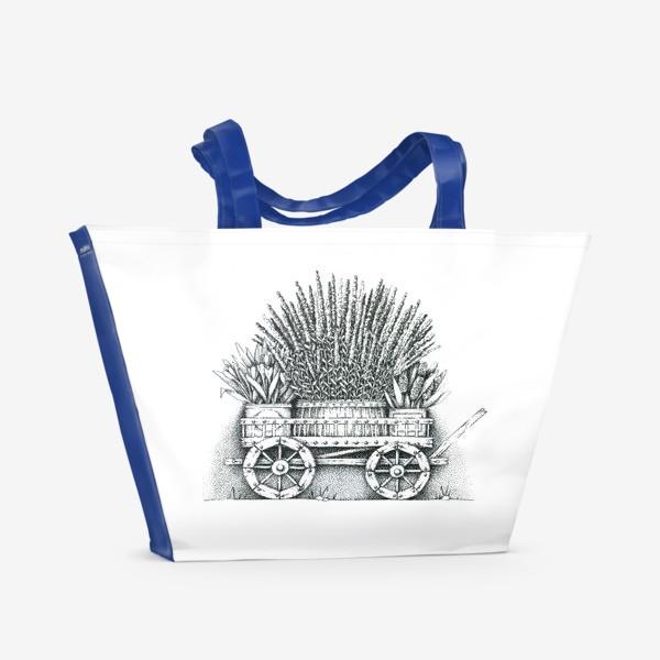 Пляжная сумка «Телега с цветами»