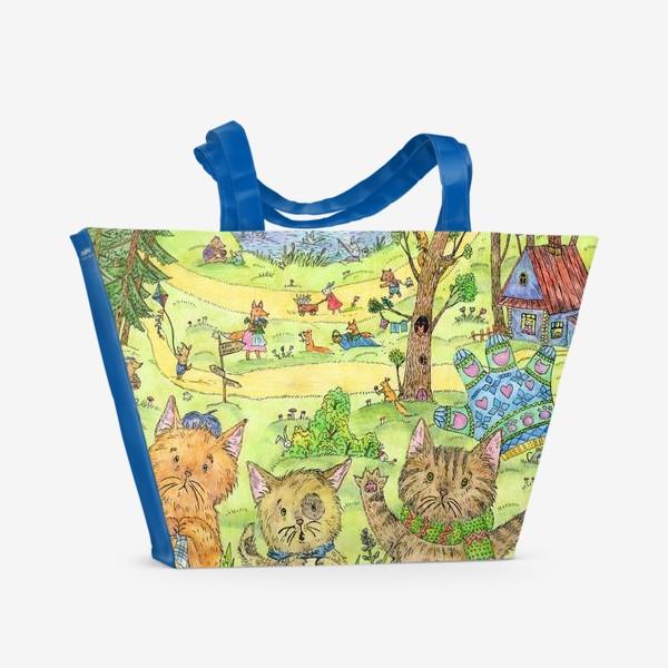 Пляжная сумка «Котята потеряли перчатки»
