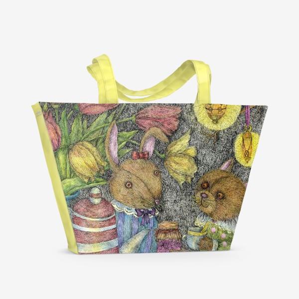 Пляжная сумка «Кот и заяц пьют чай»