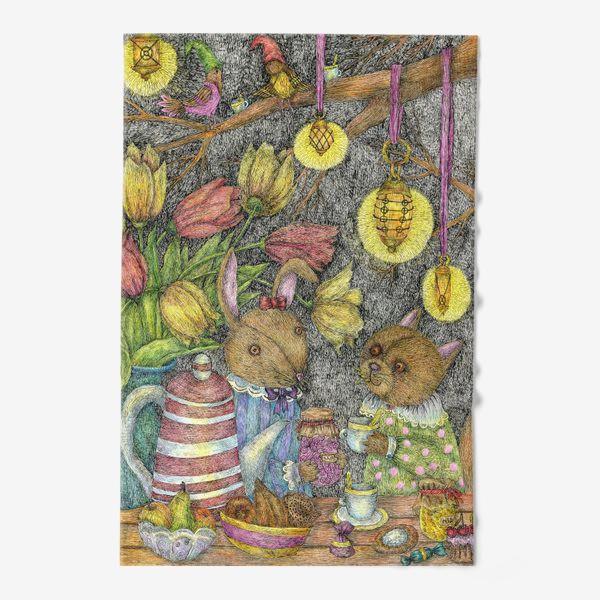 Полотенце «Кот и заяц пьют чай»