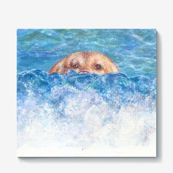 Холст «Волна, море, собака»