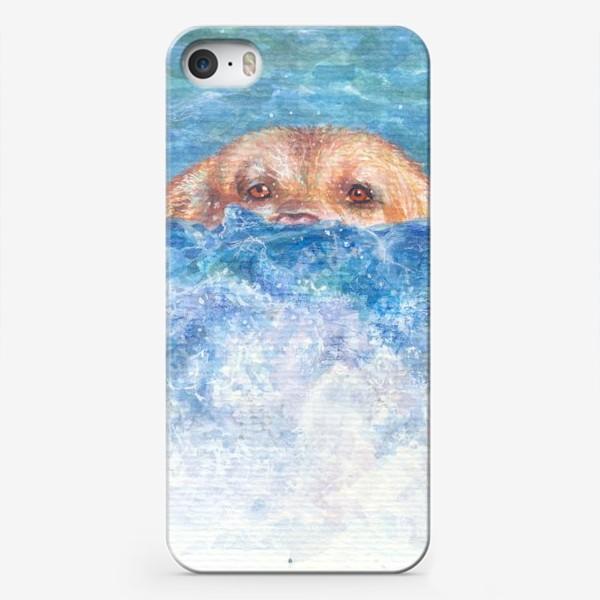 Чехол iPhone «Волна, море, собака»
