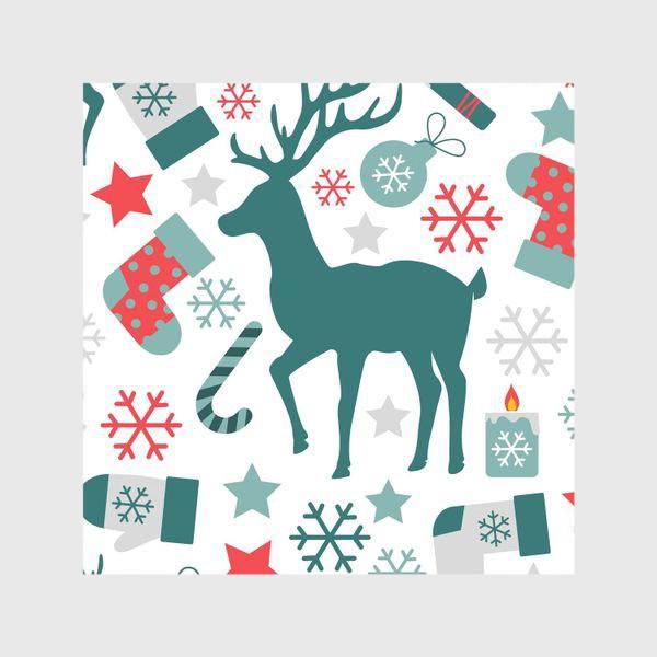 Шторы «Рождество, Новый год, зимние праздники - бесшовный паттерн»