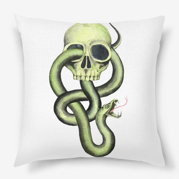 Подушка «Черная метка, череп,змея»