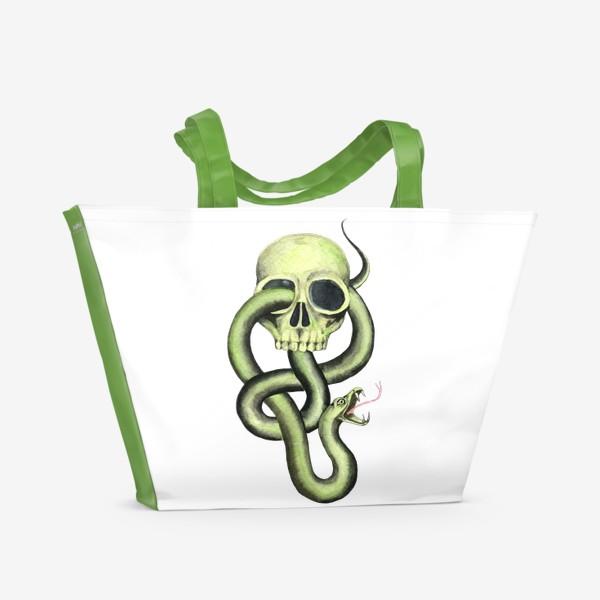 Пляжная сумка «Черная метка, череп,змея»