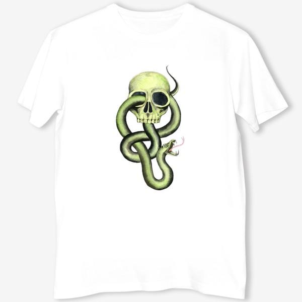 Футболка «Черная метка, череп,змея»