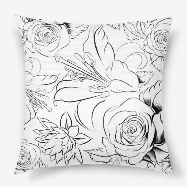 Подушка «Бесшовный паттерн с цветами»