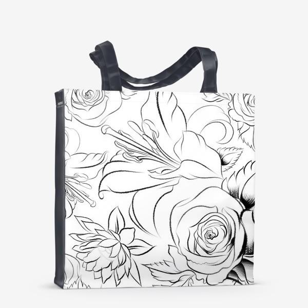 Сумка-шоппер «Бесшовный паттерн с цветами»