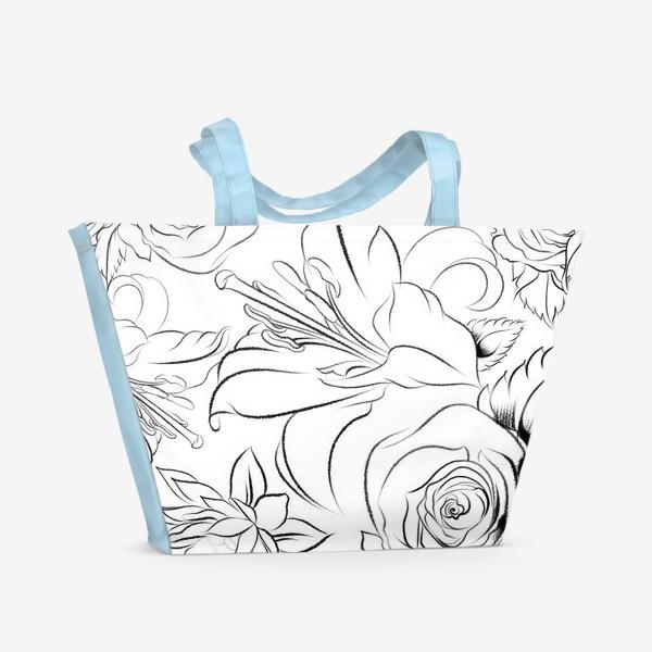 Пляжная сумка «Бесшовный паттерн с цветами»