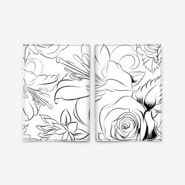 Обложка для паспорта «Бесшовный паттерн с цветами»