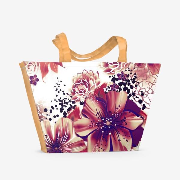 Пляжная сумка «Ромашки и розы, паттерн»