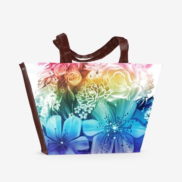 Пляжная сумка «Розы и ромашки с радужным градиентом»
