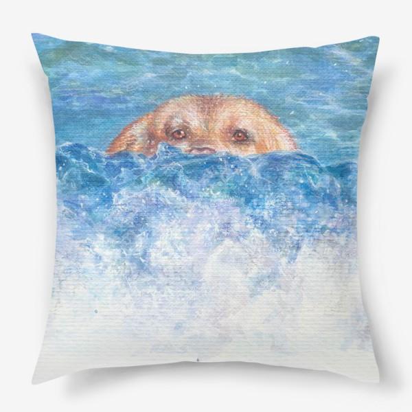 Подушка «Волна, море, собака»