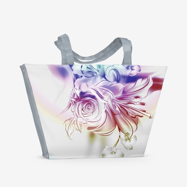 Пляжная сумка «Лилия, роза и орхидея»