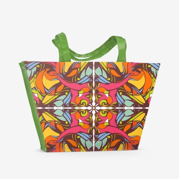 Пляжная сумка «Абстрактный оранжевый узор»