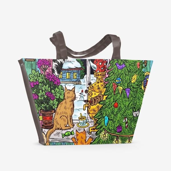 Пляжная сумка «Кошки и Новый год»