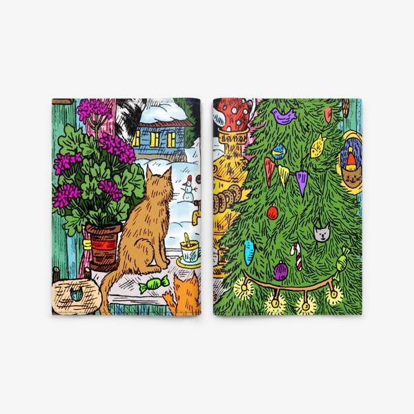 Обложка для паспорта «Кошки и Новый год»