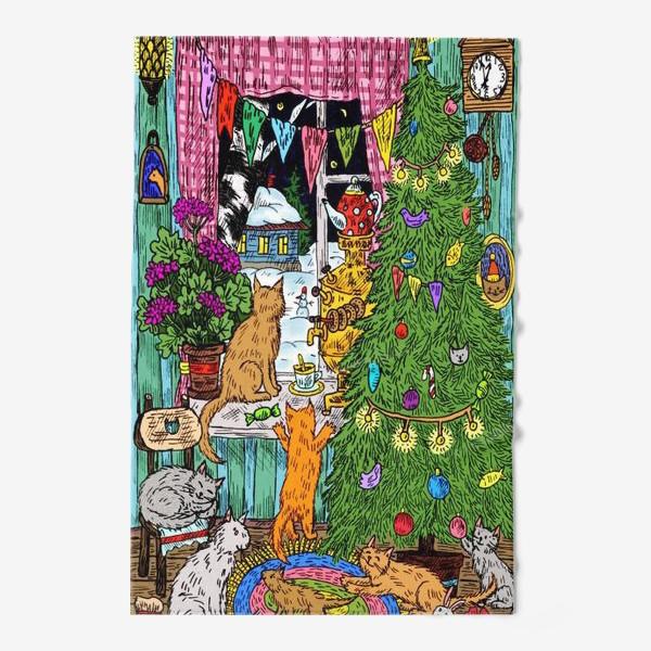 Полотенце «Кошки и Новый год»