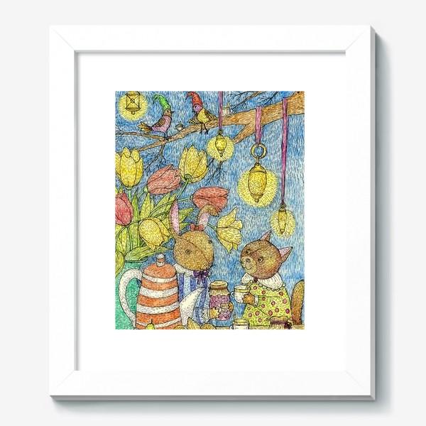Картина «Кролик и кошка пьют чай»