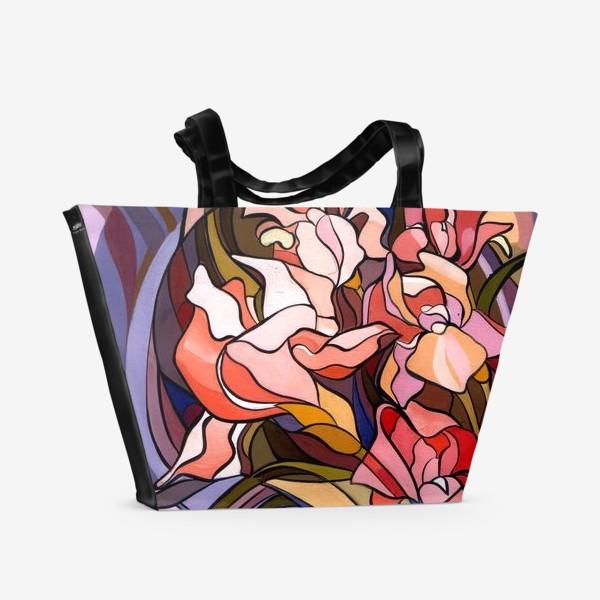 Пляжная сумка «Ирисы в стиле модерн»