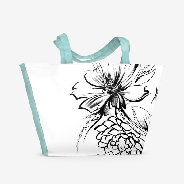 Пляжная сумка «Ромашка и роза на белом фоне»