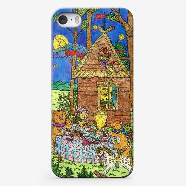 Чехол iPhone «Милые животные пьют чай»