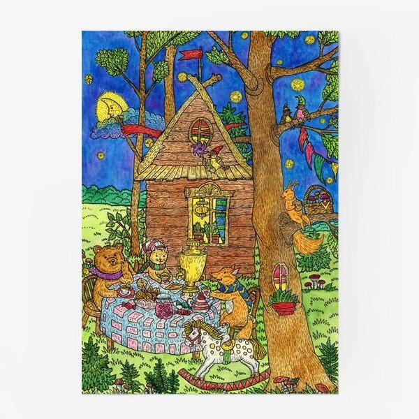 Постер «Милые животные пьют чай»