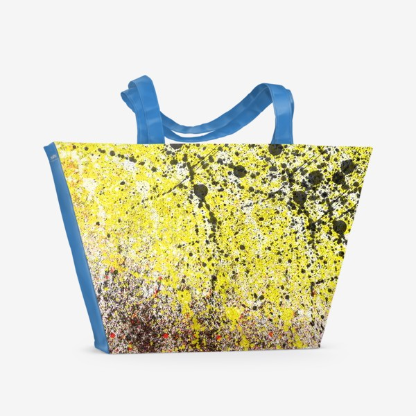 Пляжная сумка «Черные пятна краски на желтом фоне»