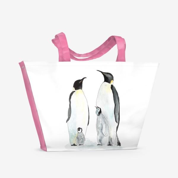 Пляжная сумка «Пингвины. Дружная семейка.»