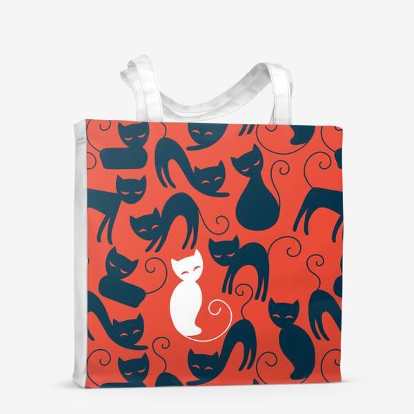 Сумка-шоппер «Хэллоуин - красный фон с черными и белыми котами»