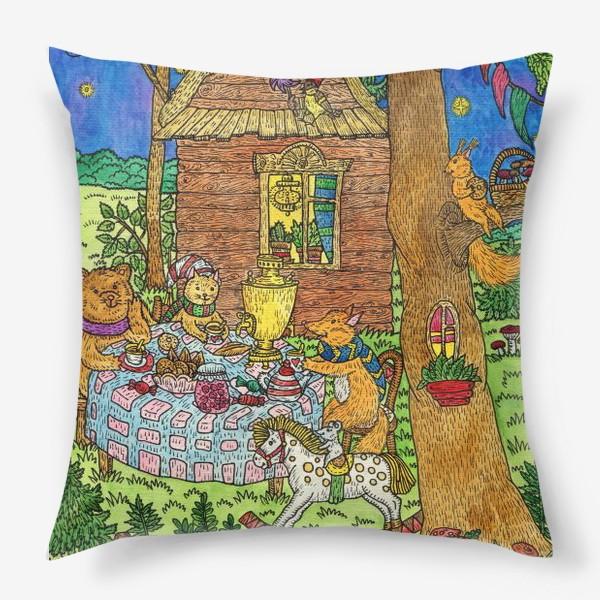 Подушка «Милые животные пьют чай»