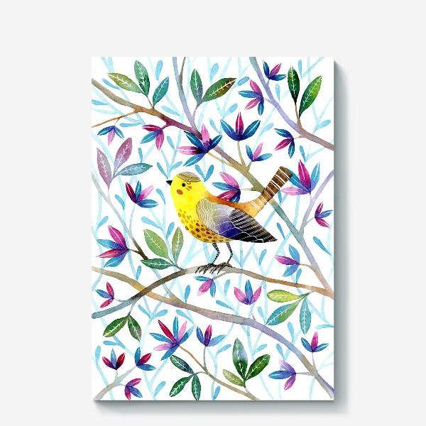 Холст «Птичка на веточках »
