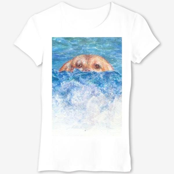 Футболка «Волна, море, собака»