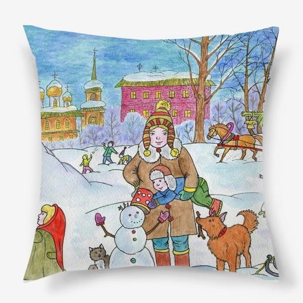 Подушка «Зимняя прогулка»