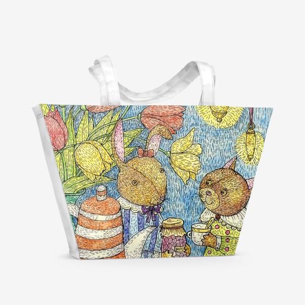 Пляжная сумка «Кролик и кошка пьют чай»
