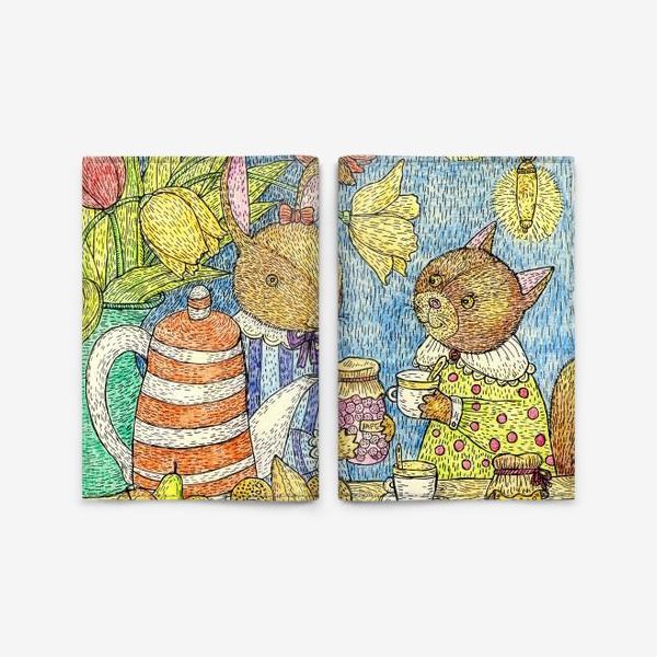 Обложка для паспорта «Кролик и кошка пьют чай»
