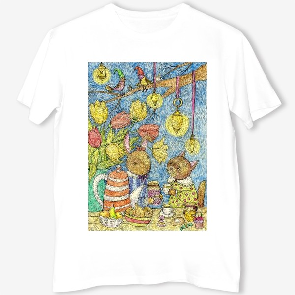 Футболка «Кролик и кошка пьют чай»
