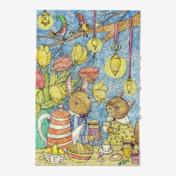 Полотенце «Кролик и кошка пьют чай»