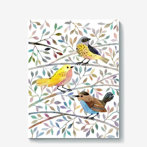 Холст «Птицы на веточках»